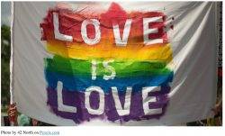 Love is Love banner on display